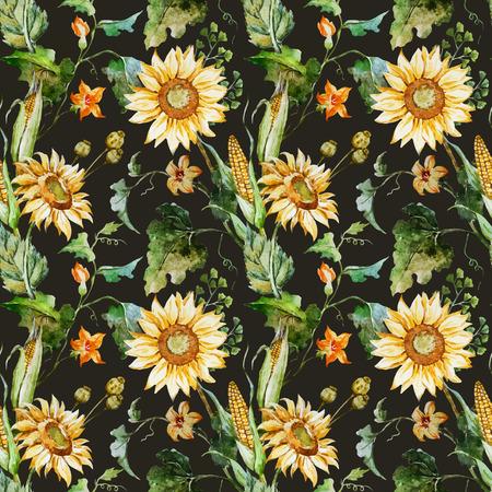 素敵な水彩画ひまわりの美しいベクター パターン 写真素材 - 44079918