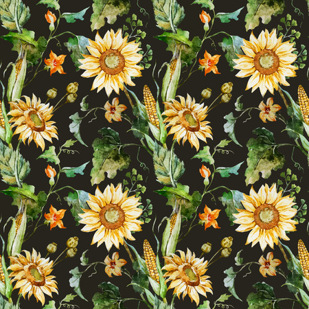 Beautiful vector pattern with nice watercolor sunflowers Stok Fotoğraf - 44079918