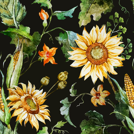 Beautiful vector pattern with nice watercolor sunflowers