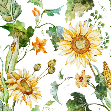 Beautiful vector pattern with nice watercolor sunflowers Stock fotó - 44079923