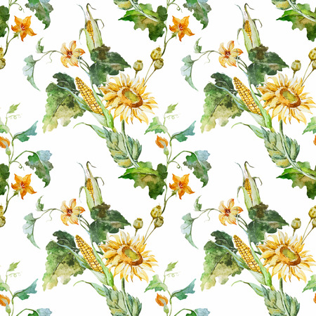 sunflowers: Beautiful vector pattern with nice watercolor sunflowers