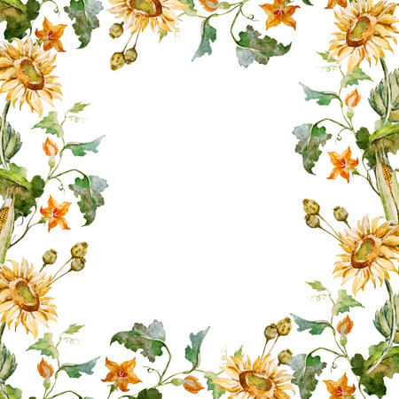 Beautiful vector frame with nice sunflowers and nasturtsia Çizim
