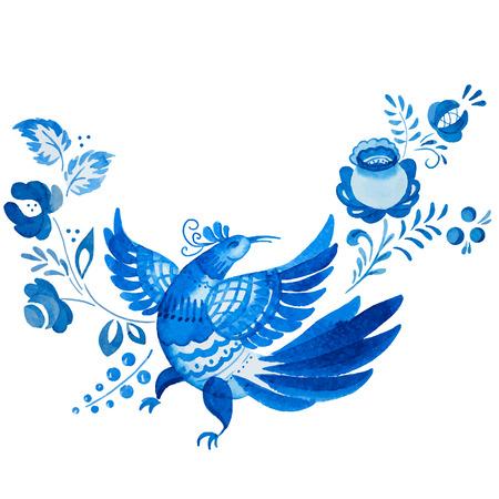 flores chinas: Imagen hermosa del vector con el ornamento tradicional gzhel ruso