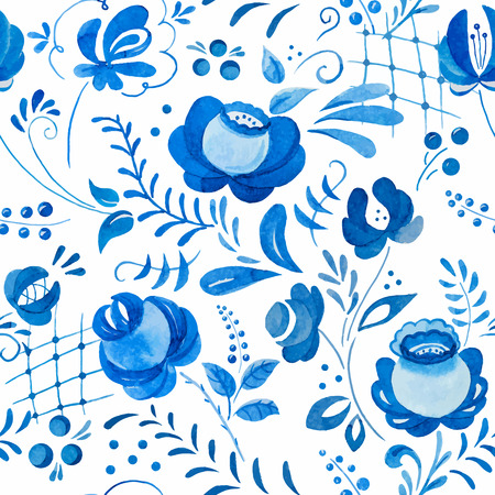 traditional pattern: Beautiful vector pattern with traditional russian gzhel ornament