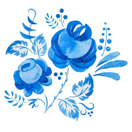 patrones de flores: Imagen hermosa del vector con el ornamento tradicional gzhel ruso