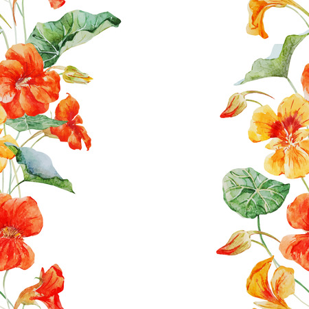 きれいな水彩キンレンカの花の美しいベクター パターン