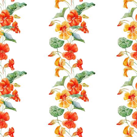 Beautiful vector pattern with nice watercolor nasturtium flowers