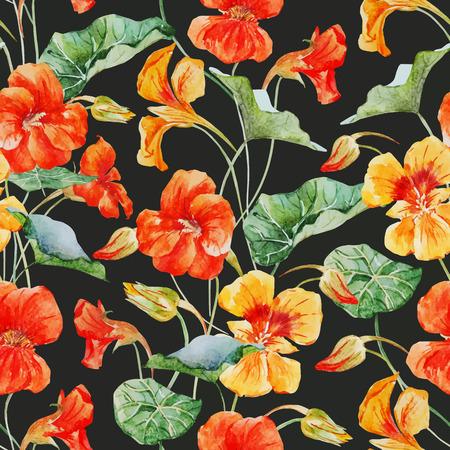 flower pattern: Beautiful vector pattern with nice watercolor nasturtium flowers