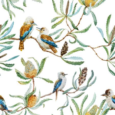 Beautiful vector pattern with nice australian kookaburra bird