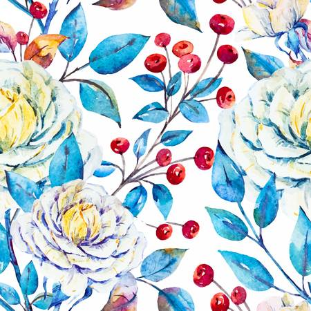 red berries: Watercolor bright beautiful pattern with roses and red berries