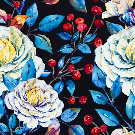 winter flower: Watercolor bright beautiful pattern with roses and red berries