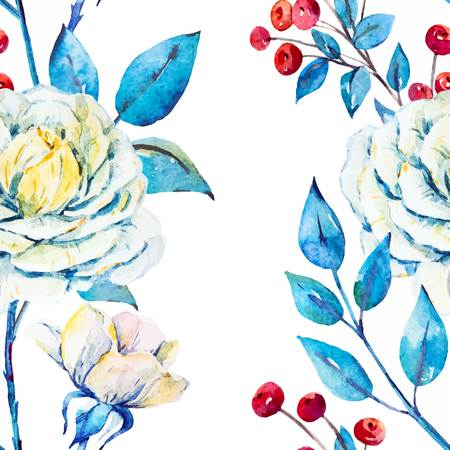 blue background texture: Watercolor bright beautiful pattern with roses and red berries