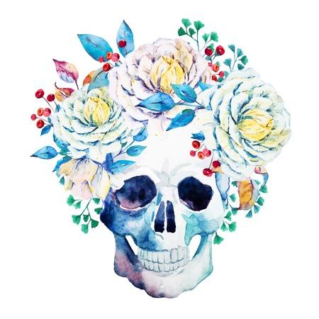 calaveras: Imagen hermosa del vector con el cráneo bonita acuarela Vectores
