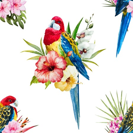 exotic flowers: Beautiful vector pattern with nice watercolor rosella bird and flowers
