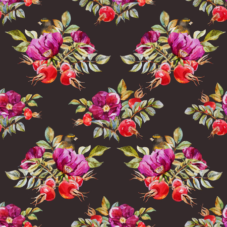 dogrose: Beautiful vector pattern with nice watercolor dogrose flowers