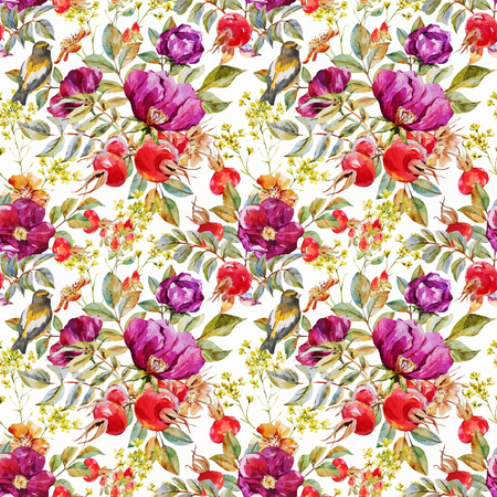 Beautiful vector pattern with nice watercolor dogrose flowers