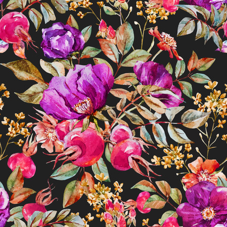 water color: Beautiful vector pattern with nice watercolor dogrose flowers