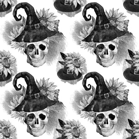 deaths: Beautiful vector pattern with watercolor skulls on halloween theme