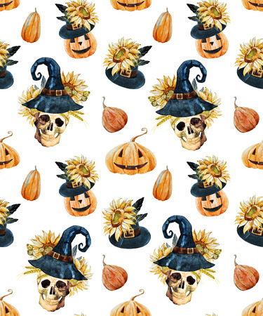 sunflower drawing: Beautiful vector pattern with watercolor skulls on halloween theme