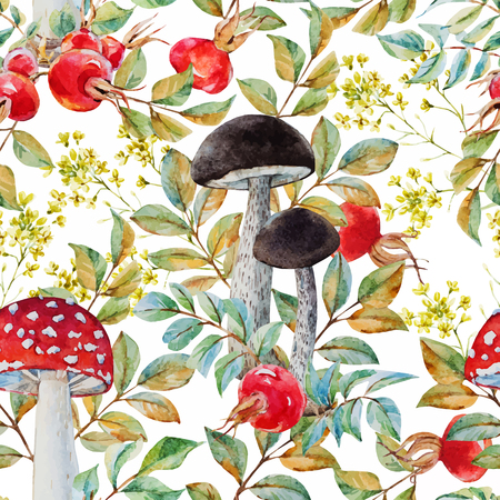 Beautiful vector pattern with nice watercolor dogrose and mushrooms