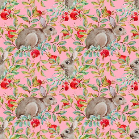 abstract pattern: Beautiful vector pattern with nice watercolor dogrose and rabbit