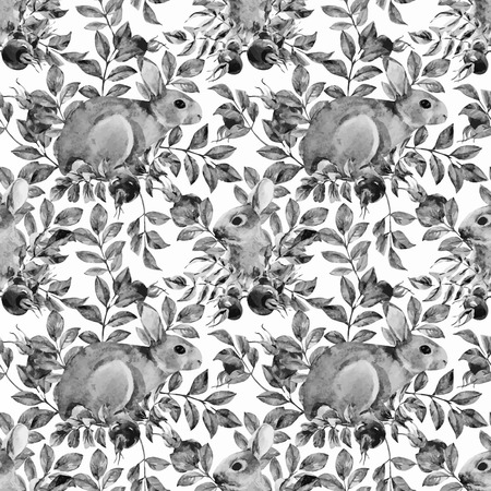 rabbits: Beautiful vector pattern with nice watercolor dogrose and rabbit
