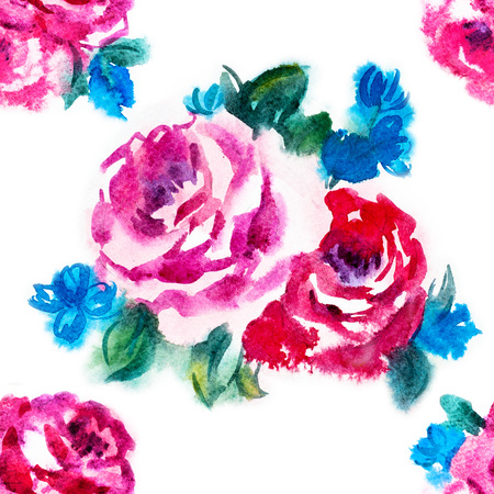 painted: Beautiful raster pattern with nice watercolor roses