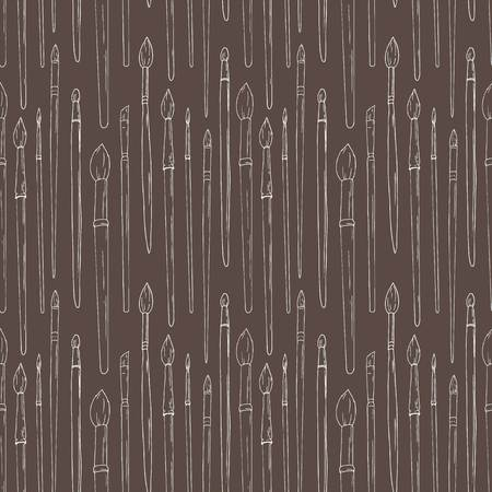 work popular: Beautiful vector pattern with nice brushes, pencils