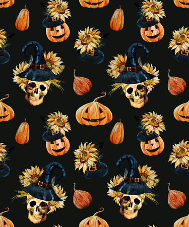 pattern background: Beautiful vector pattern with watercolor skulls on halloween theme