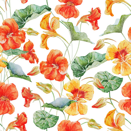 Beautiful raster pattern with nice watercolor nasturtium flowers
