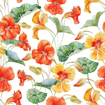 nasturtium: Beautiful raster pattern with nice watercolor nasturtium flowers