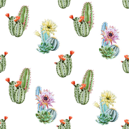 Beautiful raster image with nice watercolor cactus