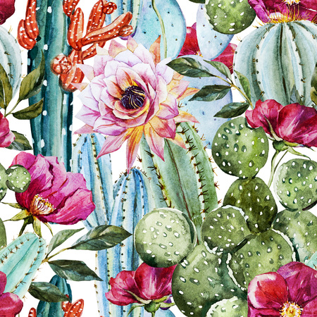 green background pattern: Watercolor cactus pattern