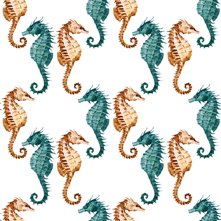 Beautiful raster pattern with nice watercolor seahorses