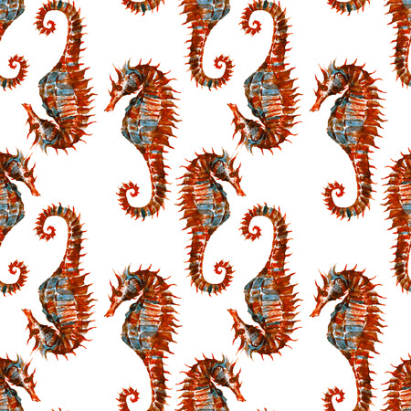 consecutive: Beautiful raster pattern with nice watercolor seahorses