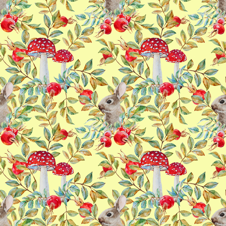 water garden: Beautiful raster pattern with nice watercolor dogrose and rabbit