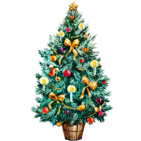 red ball: Beautiful vector image with nice watercolor christmas tree