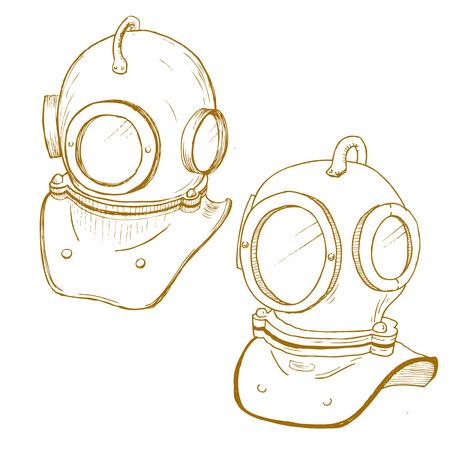 deep sea diver: Beautiful vector image set with nice retro diving suit helmet