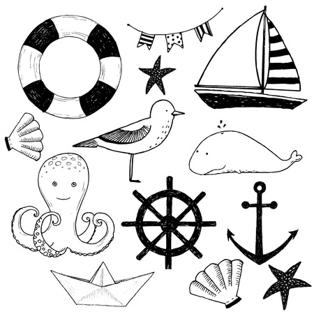 barco caricatura: Imagen hermosa del vector con elementos marinos agradables Vectores
