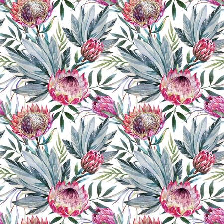 Krásná rastrový vzor s pěkné akvarely tropických květů protea Reklamní fotografie - 46526194