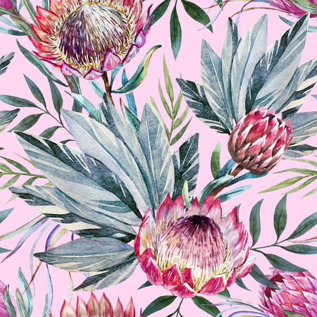 Beautiful raster pattern with nice watercolor tropical protea flowers