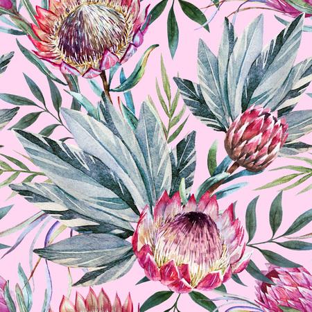 Mooie rasterpatroon met mooie aquarel tropische protea bloemen Stockfoto
