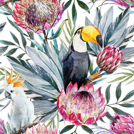 garden flower: Beautiful raster pattern with nice watercolor tropical protea flowers