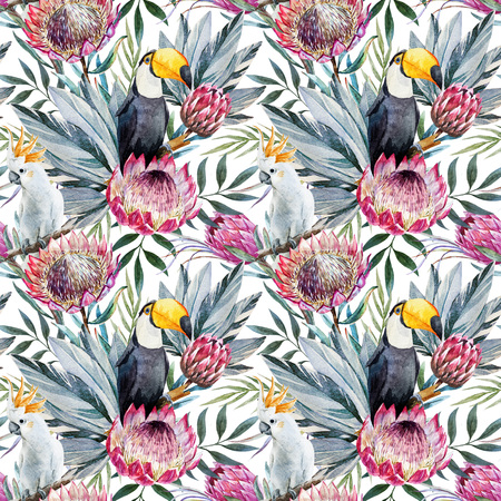botanical garden: Beautiful raster pattern with nice watercolor tropical protea flowers