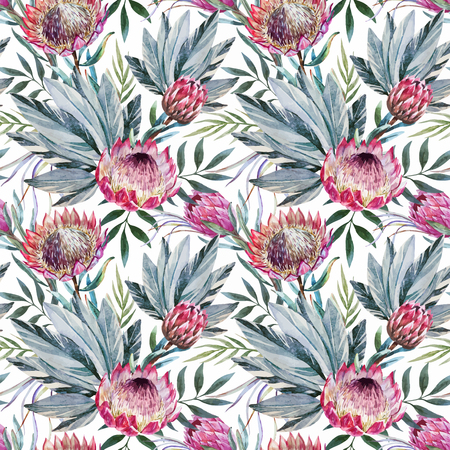 tropical flowers: Beautiful vector pattern with nice watercolor tropical protea flowers Illustration