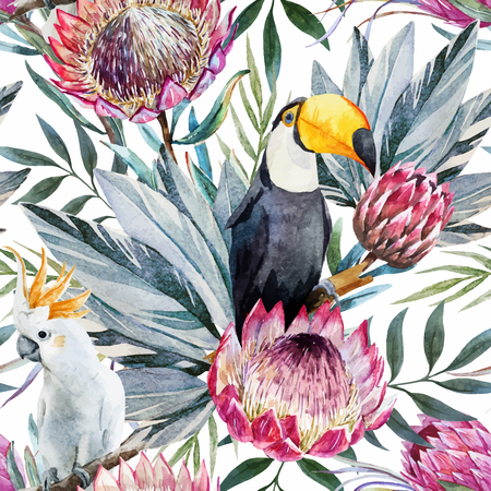 toucan: Beautiful vector pattern with nice watercolor tropical protea flowers Illustration