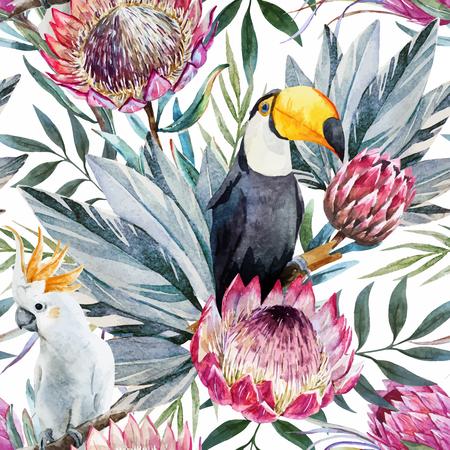 Mooie vector patroon met mooie aquarel tropische protea bloemen Stock Illustratie