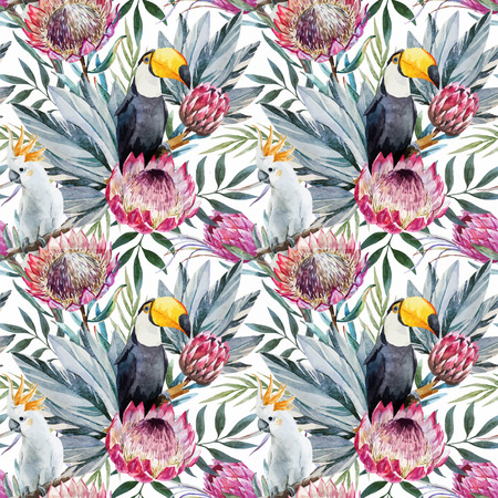 summer season: Beautiful vector pattern with nice watercolor tropical protea flowers Illustration