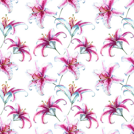 lillies: Beautiful raster pattern with nice watercolor tropical lillies