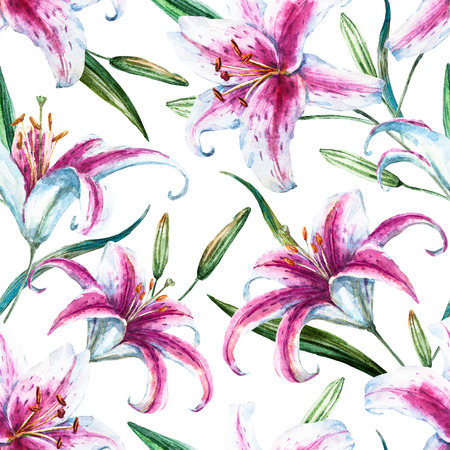 florale: tropischen Aquarell Lilly Muster- Lizenzfreie Bilder
